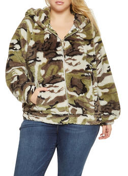 Plus Size Faux Fur Camo Jacket - GREEN - 3932063408972