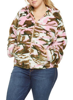 Plus Size Faux Fur Camo Jacket - 3932063408972