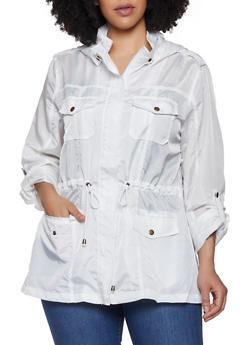 Plus Size Nylon Anorak Jacket - 3932068190891
