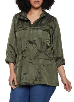 Plus Size Nylon Anorak Jacket - 3932068190891