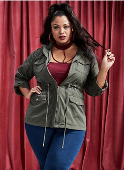 Plus Size Solid Hooded Anorak Jacket - 3932068191535