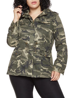 Plus Size Camo Anorak Jacket - 3932068196605