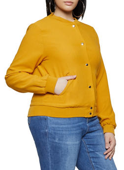 Plus Size Crepe Knit Bomber Jacket - 3932068198021