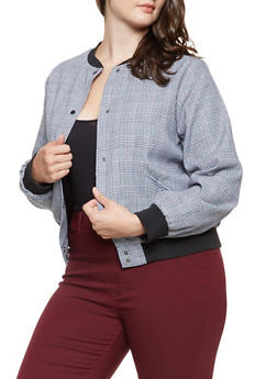 Plus Size Glen Plaid Bomber Jacket - 3932068198032