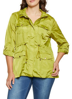 Plus Size Tabbed Sleeve Windbreaker - 3932068198910