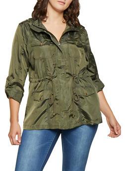 Plus Size Tabbed Sleeve Windbreaker - 3932068198910