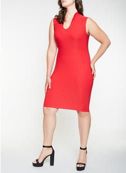 Plus Size Midi Sheath Dress - 3932068510415