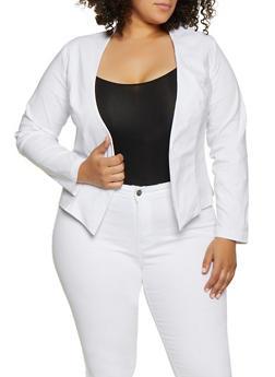 Plus Size Pointed Hem Stretch Blazer - 3932068513535