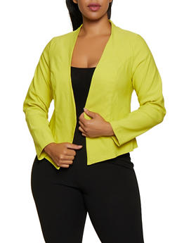 Plus Size Pointed Hem Stretch Blazer - 3932068513535