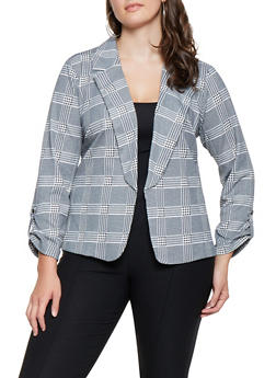 Plus Size Printed Blazer - 3932068513569