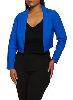 Plus Size Stretch Cropped Blazer - 3932068513773