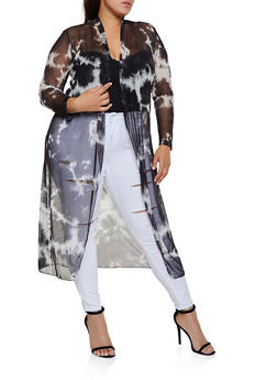 Plus Size Mesh Printed Duster - 3932068515227