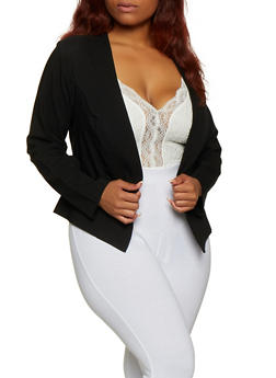 Plus Size Solid Stretch Blazer - 3932068515858