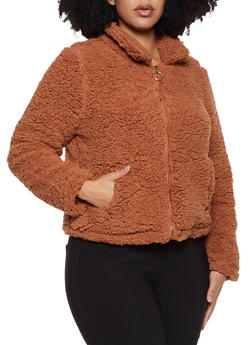 Plus Size Sherpa Zip Front Jacket - 3932069390562