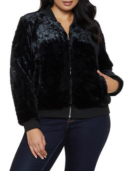 Plus Size Faux Fur Bomber Jacket - 3932069390639
