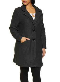 Plus Size 2 Button Peacoat - CHARCOAL - 3932069397013