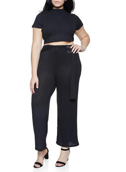 Plus Size Ribbed Crop Top and Palazzo Pants Set - 3933015990325