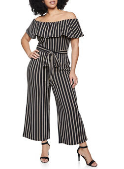 Plus Size Ruffled Off the Shoulder Striped Jumpsuit - 3933015993910