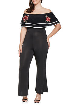 Plus Size Embroidered Off the Shoulder Jumpsuit - 3933062709969