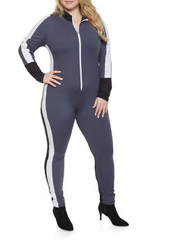 Plus Size Color Block Zip Up Catsuit - 3933063409325