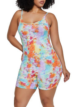 Plus Size Tie Dye Soft Knit Romper - 3933068514412