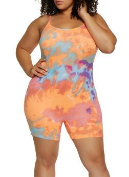 Plus Size Soft Knit Tie Dye Romper - 3933068514422