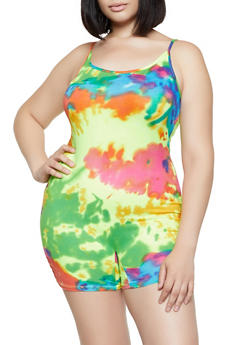 Plus Size Soft Knit Tie Dye Romper - 3933068514422