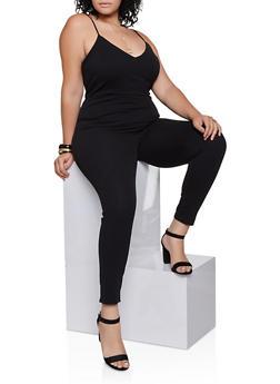 Plus Size Crepe Knit Jumpsuit - 3933069390715