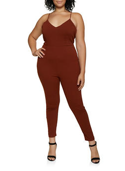 Plus Size Crepe Knit Jumpsuit - 3933069390715