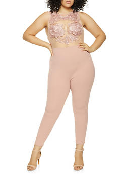 Plus Size Crochet Mesh Zip Back Jumpsuit - 3933069396684