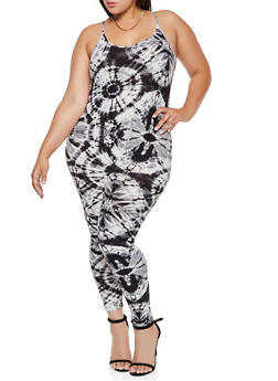 Plus Size Tie Dye Catsuit - 3933072290020