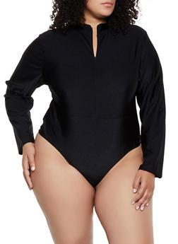 Plus Size Zip Front Spandex Bodysuit - 3935062703006