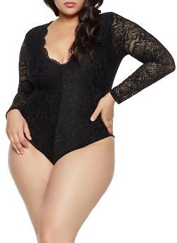 Plus Size V Neck Lace Thong Bodysuit - 3935069390378