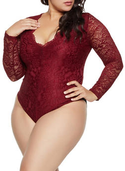 Plus Size V Neck Lace Thong Bodysuit - 3935069390378