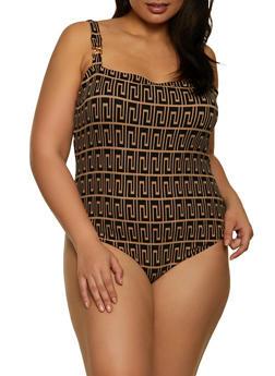 Plus Size Printed Square Neck Bodysuit - 3935069392597