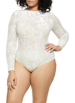 Plus Size Long Sleeve Burnout Bodysuit - 3935069393741