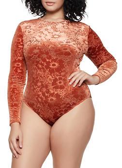 Plus Size Long Sleeve Burnout Bodysuit - 3935069393741