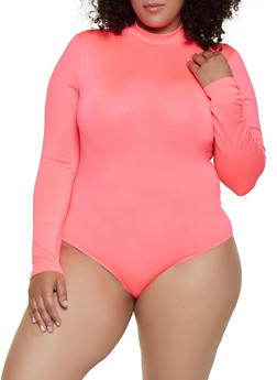 Plus Size Spandex Mock Neck Bodysuit - 3935069393760