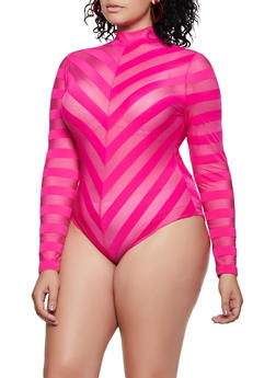 Plus Size Chevron Shadow Stripe Bodysuit - 3935069393830