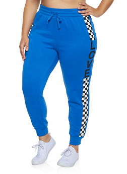 Plus Size Checkered Love Graphic Joggers - 3951001441013