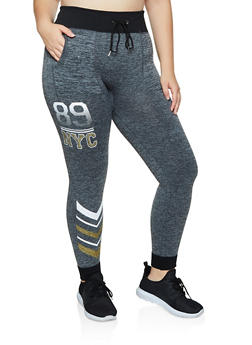 Plus Size 89 NYC Graphic Fleece Joggers - 3951001444792