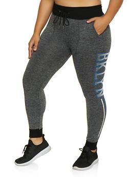 Plus Size BKLYN Stripe Detail Joggers - 3951001444797