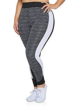 Plus Size Color Block Leggings - 3951038341752