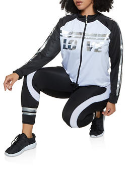 Plus Size Love Color Block Track Jacket - 3951038341775