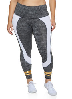 Plus Size Color Block Varsity Stripe Leggings - 3951038341776