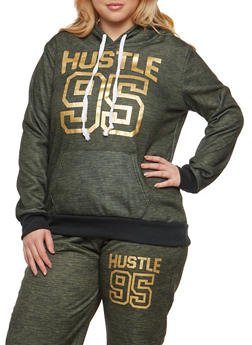 Plus Size Hustle Graphic Hooded Sweatshirt - 3951038342734