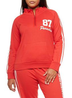 Plus Size Half Zip Paradise Graphic Sweatshirt - 3951038342746