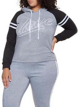 Plus Size Rhinestone Studded Love Sweatshirt - 3951038347060