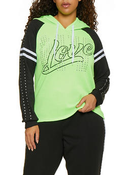 Plus Size Rhinestone Studded Love Sweatshirt - 3951038347060