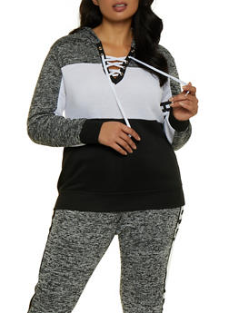 Plus Size Lace Up Blessed Sweatshirt - 3951038347142